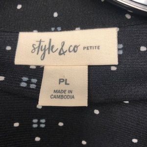 Style & Co Tops - NWT Style & Co Petite Black Patterned Tunic
